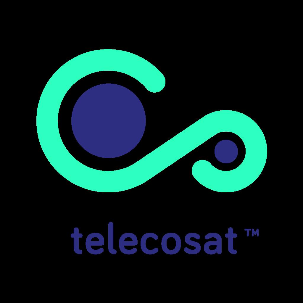 Diseño de Logotipo con colores planos para Telecosat. Disseny del logotip amb colors plans per a Telecosat.