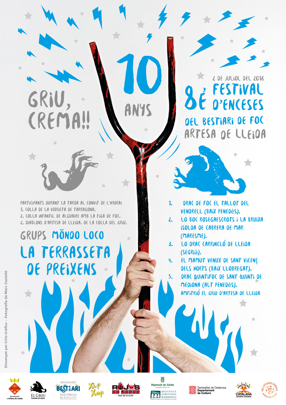Diseño del Cartel comemorativo de los 10 años del Griu Artesa de lleida. Disseny del cartell comemoratiu dels 10 amnys del Griu Artesa de Lleida.