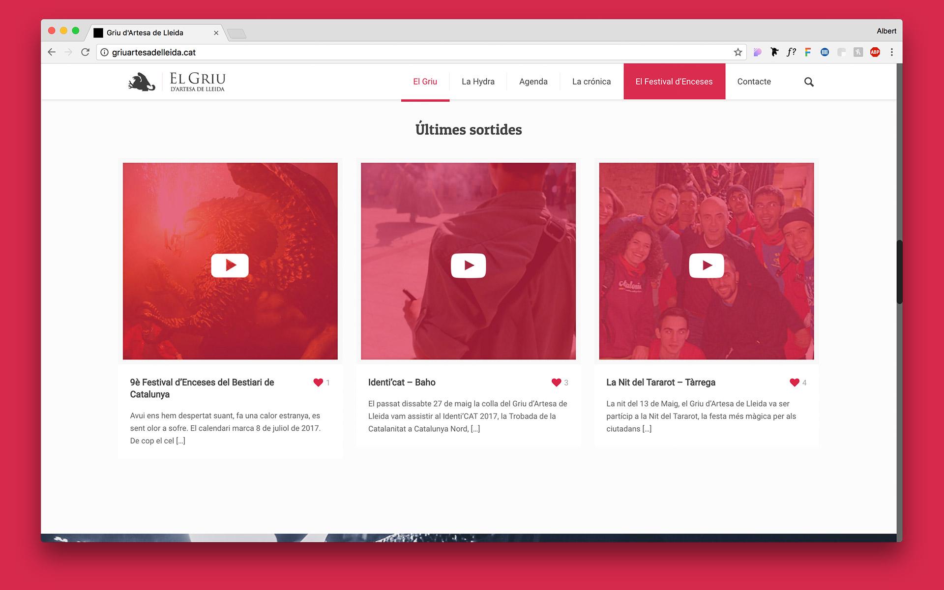 Diseño de la pàgina web para el Griu Artesa de Lleida. Disseny de la pàgina web per al Griu Artesa de Lleida.