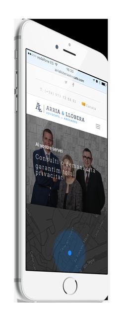 Página web responsive para Arria Llobera Advocats Lleida. Pàgina web responsive per a el bufet Arria Llobera Advocats Lleida.