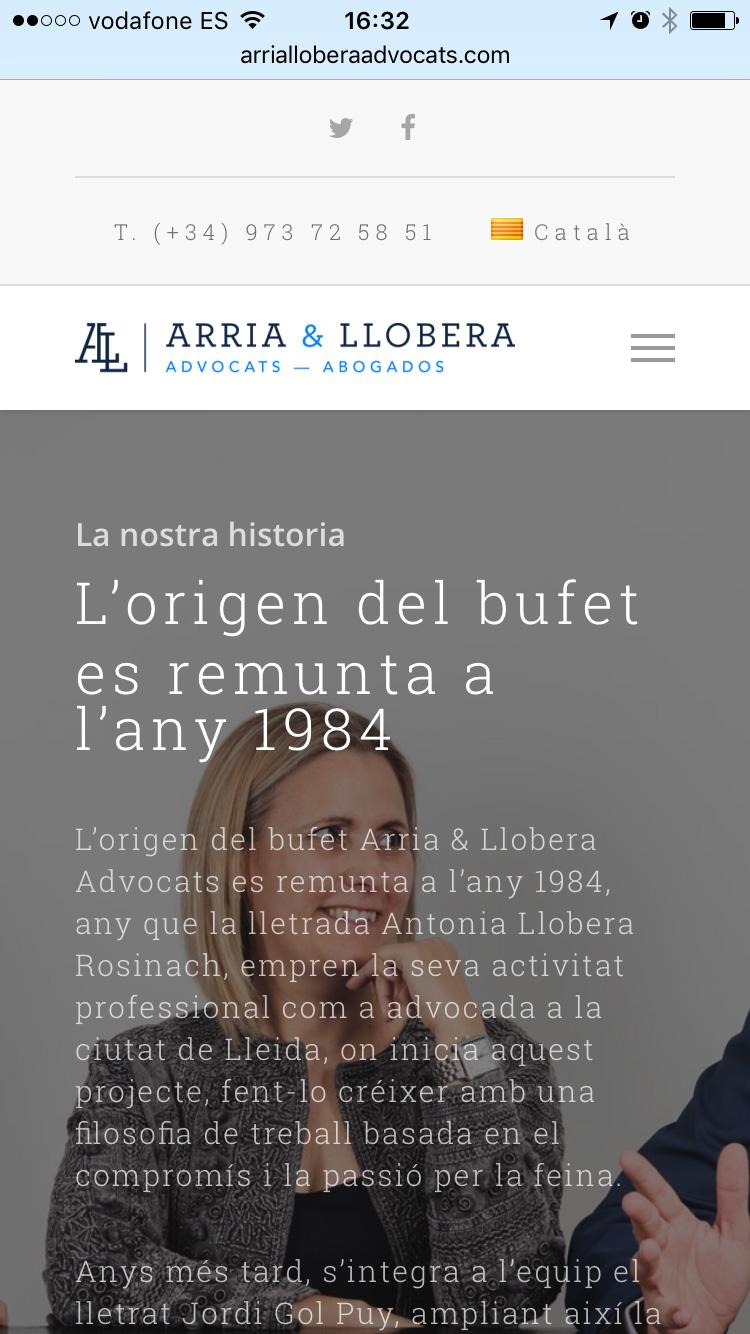 Diseño página web format móvil para Arria Llobera Abogados Lleida. Disseny pàgina web format mòbil per Arria Llobera advocats Lleida.