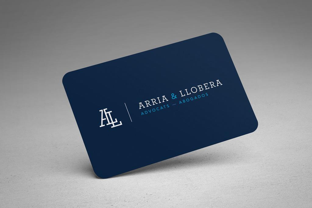 Tarjeta de visita para Arria Llobera Advocats Lleida. Tarjetas de visita para Arria Llobera advocats Lleida.