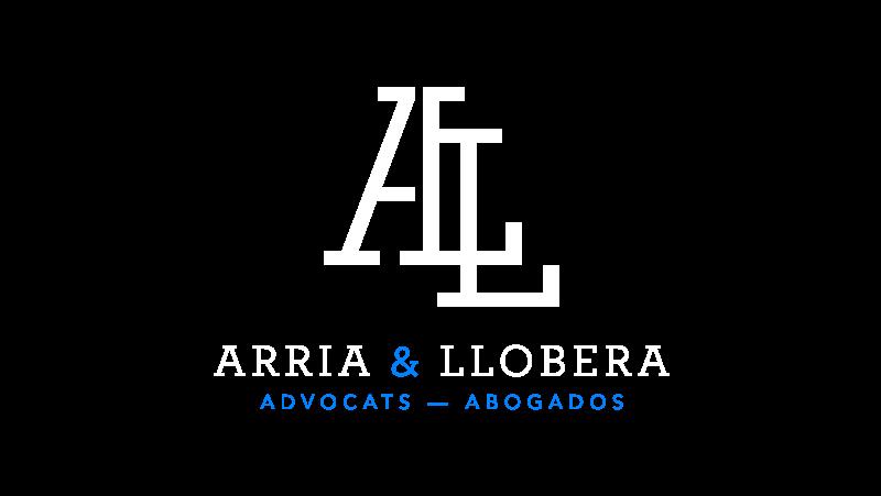 Logotipo blanco para Arria Llobera abogados Lleida. Logotip blanc per a Arria Llobera advocats Lleida.